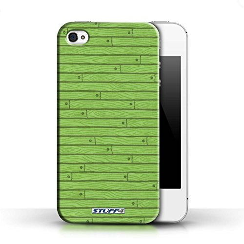 KOBALT® Hülle Case für Apple iPhone 4/4S | Rosa Entwurf | Holz-Muster Kollektion Grün