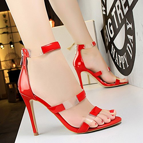 LGK&FA Un Simple Bouton Percé Orteil DUn Amende Rome Tous-Match Female High-Heeled Sandals 39 red