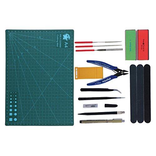 Fenteer Modellbau Werkzeuge Kit, inkl.Pinzette , Zangen und Polierte - VT-038