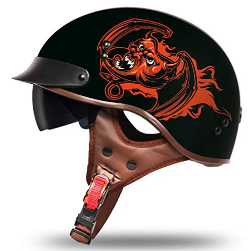 H_y Open Face Cruiser Vintage Helm, Sonnenbrille Visier Retro Style Crash Locomotive Herren Elektro Motorrad Batterie 57-62cm Halber Helm,M