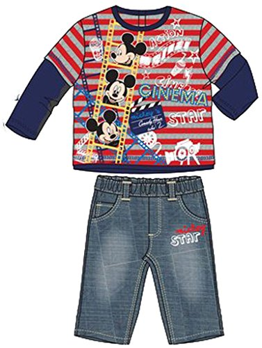 Disney Baby Micky Maus Langarmshirt + Jeans Rot 12 Monate Disney Jeans