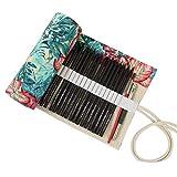 NUOBESTY astuccio portamatite in tela portatile portamatite per maglieria fatto a mano rotolamento portamatite avvolgitore organizer con 48 fessure (acero)
