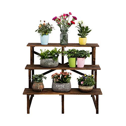 AXHJ Holzregalkorrosionsschutzoberteilinnenpflanzenlagergestell des Blumenstandes Im Freien -