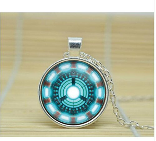 Man Arc Reactor Halskette Man Arc Reactor Jewelry Man Arc Reactor Anhänger Glas Cabochon Halskette 1