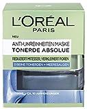L'Oréal Paris Tonerde Absolue Blaue Anti-Unreinheiten Maske, mit Meeresalgen, reduziert Mitesser und verkleinert Poren, 2er Pack (2 x 50 ml)