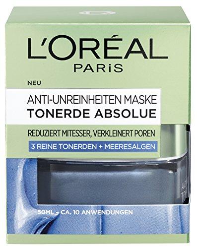 L'Oréal Paris Tonerde Absolue Anti-Unreinheiten Gesichtsmaske mit Meeresalgen-Extrakt, 2er Pack (2 x 50 ml)