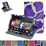 "Rotating Coque Pour Fire 7 5th,Mama Mouth 360 Degree Rotating PU Cuir debout Fonction Housse Coque Étui Couverture pour 7"" Amazon Fire 7 Android Tablet 5th Generation 2015 release,Zebra Violet"