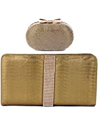 Kleio Combo Of Designer Party Oval Shaped Clutch With Sling & Stone Party Clutch