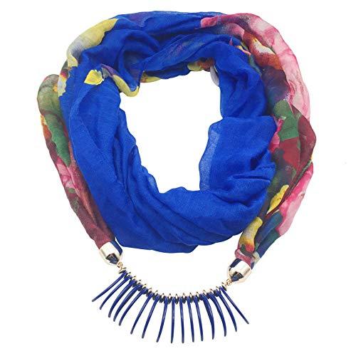 LIULIFE Lange Halskette Für Damen - Damen Romantisch Gelegenheits/Sportlich Halskette Schmuck Halstuch,Blue-Length180cm