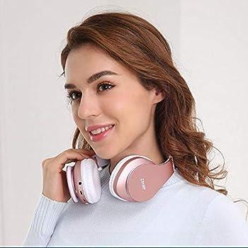 Zihnic Wireless Stereo Pieghevole Cuffie, Bluetooth Auricolare con Microfono Integrato Mini sd/tf for iPhone/samson/ipad/pc fm comodi paraorecchie per indossare a lungo-Oro Rosa