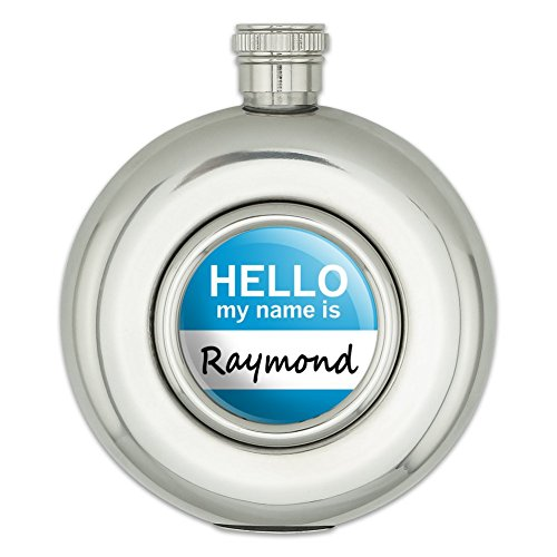 round-stainless-steel-5oz-hip-flask-hello-my-name-is-ra-ri-raymond-hello-my-name-is