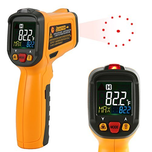 Infrared thermometer Janisa PM6530B Digital Laser Thermometer Non Contact Kitchen Thermometer Temperature Gun Color Display -58°F~1022°F With 12 Point Aperture Temperature Alarm Function