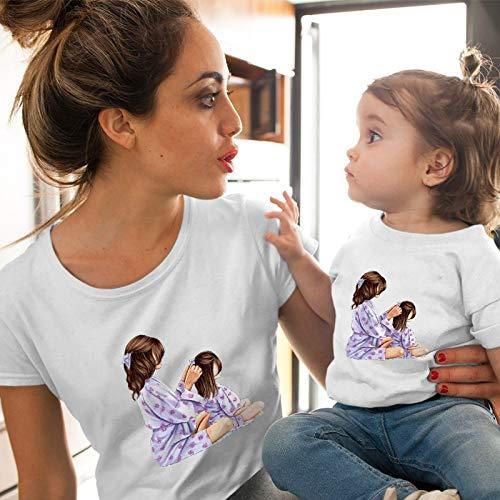 XMDNYE Weibliches T-Shirt Passende Kleidung Mädchen Kostüm Mutter Tochter Sommer Kurzarm Kinder Jungen Tops