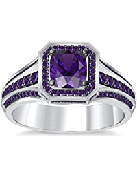 Silvernshine 4Ct Asscher Cut Amethyst CZ Dimoands 14K White Gold Plated Engagement & Wedding Ring