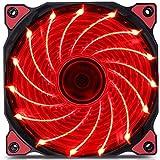 Changlesu 120mm PC Computer 16dB Ultra Silent 15LEDs 12CM Case Fan dissipatore di raffreddamento Anti-Vibration Rubber Fan12VDC 3P IDE 4pin rosso Red