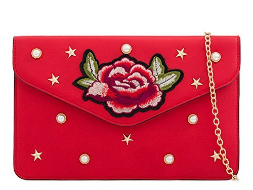NEU Diva Tasche Haute Blumenmuster Rosa Damen bestickt S Small mit Kunstleder für Geldbörse Verzierung besetzt Clutch Rot Nieten BCwq4txw