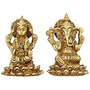 Hindu Goddess Lakshmi and God Ganesh Statue Brass Metal