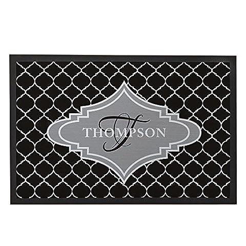 Custom Quatrefoil personnalisée Tapis de porte avant tapis de sol pour home Noir Blanc Gris Art Design intérieur extérieur tapis de sol paillasson d