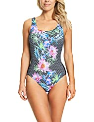 Zoggs Women's Scoopback One Piece Swimsuit with Tummy Control and Foam Cups