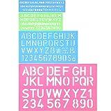 4 Stück Schriftzug Schablone Alphabet Schablone Buchstaben Nummer Handwerk Kunststoff Dekorative Schablonen Linealhilfslinien Set, Verschiedene Farben