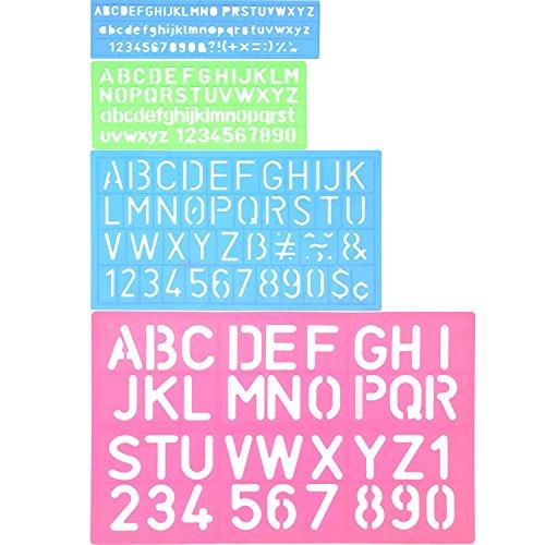 Schablone Alphabet Schablone Buchstaben Nummer Handwerk Kunststoff Dekorative Schablonen Linealhilfslinien Set, Verschiedene Farben (Handwerk Buchstaben)