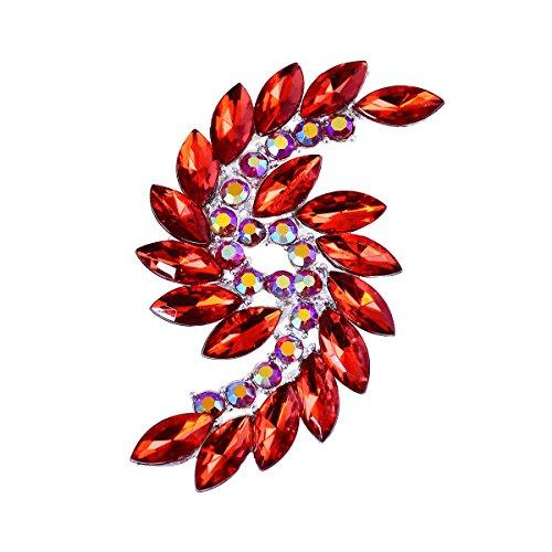 ElegantPark BP1707 Donna Moda Spilla Pin S Fiore Design Strass Cristallo Decorazione Nozze Partito Prom Regalo Rosso 1 Pcs