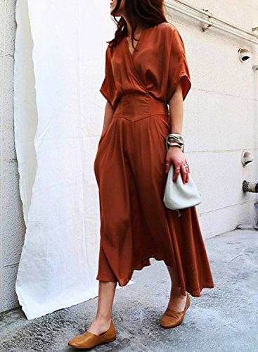 ACHICGIRL Women's V Neck Batwing Sleeve Elastic Waist Solid Maxi Dress Orange