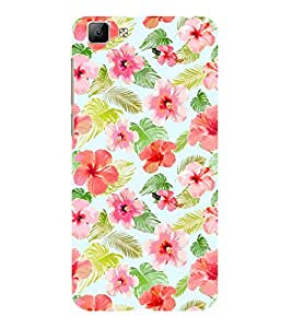 ifasho Animated Pattern mander flower with leaves Back Case Cover for VIVO Y35