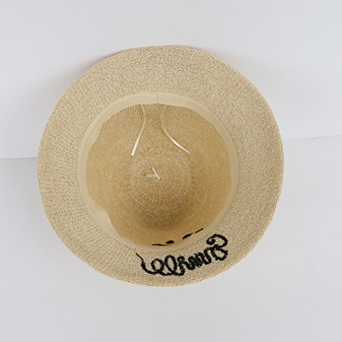 Bigood Chapeau Melon Femme Homme Lin Coton Chapeaux de Soleil Peche Randonnée Rond Abricot
