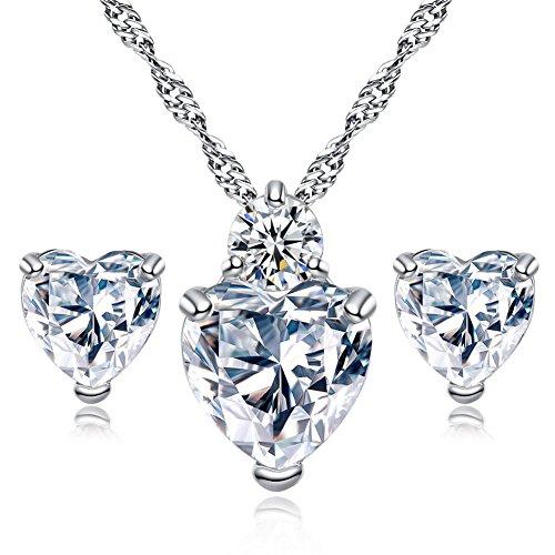 Hosaire Sra Estilo y Elegante de la Perla corazón Piedra Preciosa Pendientes Collar de Dos Piezas de joyería Nupcial Regalos de Boda de Novia