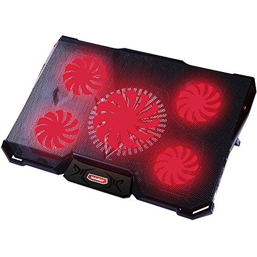 Nobelbird Base de Refrigeración para Ordenador Portátil 12'-17.3'', Base Portatil Gaming con 5 Ventiladores Ultra Silenciosos con Iluminación LED Roja, 2 Puertos USB 2.0,7 Niveles de Diseño Ajustable