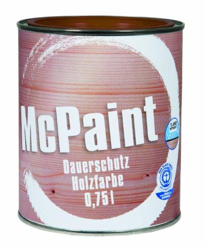 McPaint Wetterschutzfarbe - Holzfarbe für außen auf Acryl Basis mit langanhaltendem Wetterschutz, PU-verstärkt, Möbellack, seidenmatt, 0,750L, Lehmbraun - Weitere Farbtöne verfügbar