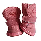 Gaddrt Welpen Baumwollmischung Winter Schnee Warme Wanderschuhe Cute Fancy Dress up Pet Dog Stiefel (Pink, X-Large)