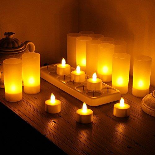 Samoleus 12er LED-Kerzen, Wiederaufladbare Kerzen, Batteriebetriebene Flammenlose Kerzen, Kabellose Teelichter, LED-Weihnachtskerzen, Kerzenlichter Mit Ladestation für Außen, Weihnachtsdeko, Hochzeit (Flammenlose Led Tee Lichter)