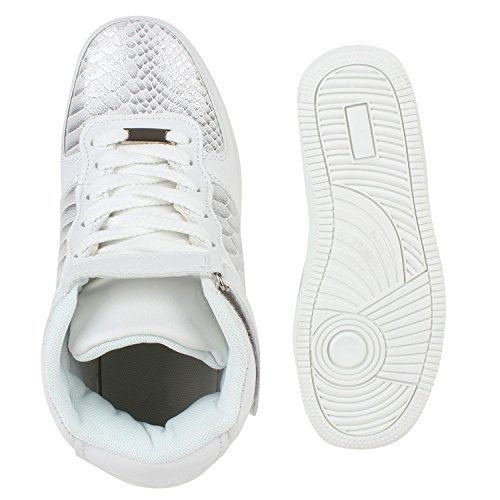 Damen Sportschuhe Basketballschuhe Sneakers Profilsohle Weiss Snake Damen  Sportschuhe Basketballschuhe Sneakers Profilsohle Weiss Snake