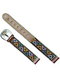 Correa para reloj de piel 12 mm - Color marrón decorada con triángulos.