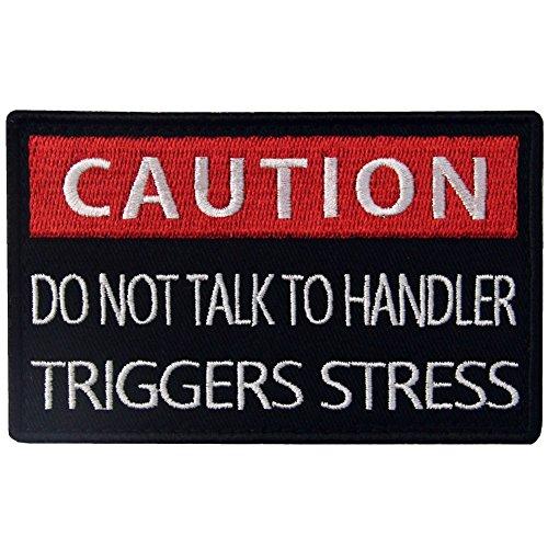 EmbTao Service Hund Caution Do Not Talk to Handler Triggers Stress Westen/Geschirre Bestickter Aufnäher mit (Militär Kostüm Diy)