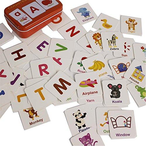 Gobus 56 stücke Flash Cards Erkenntnis Puzzle Karten Geschichte Worte Form Passenden Puzzle Früherziehung Karte Lernspielzeug in Einer Box (Artikel Erkenntnis)