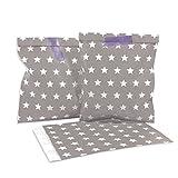 25 Papiertüten - taupe, weiße Sterne - / Geschenktüten / Candy Paper Bags -