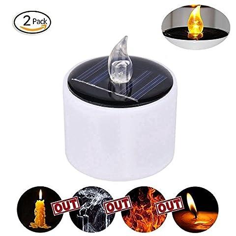 Behong Packung mit 2 realistischen Wick LED Kerzen Flameless LED