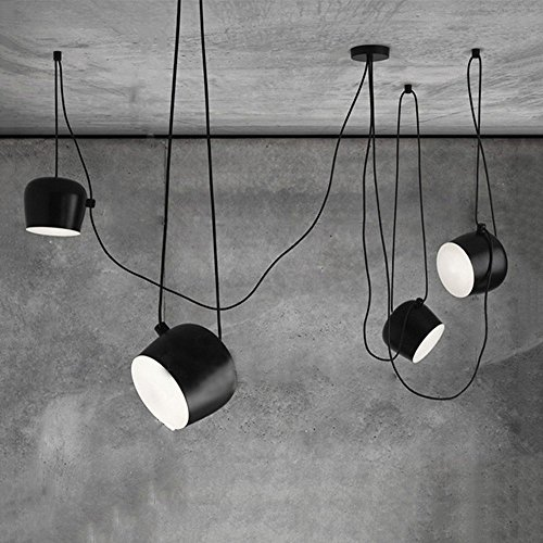 ... Draht 4 Köpfe Schwarz Eisen Pendelleuchte Moderne Restaurant Esszimmer  Wohnzimmer Büro Bekleidungsgeschäft Bar Zylindrische Trommel E27  Kronleuchter