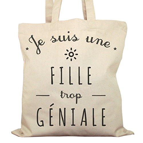 Tote Bag Imprimé Ecru - Toile en coton bio - Une Fille trop géniale
