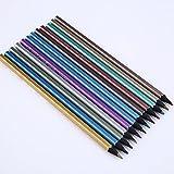 Kicode Farbstifte 12Stk Ungiftig Metallic-Buntstifte Buntstifte Set Hölzerne Zeichenstifte Kunst Zeichnung Erwachsenen Malbuch
