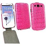 Emartbuy ® Samsung Galaxy S3 SIII I9300 Premium-PU-Leder Flip Case / Cover / Tasche Croco-Effekt im Pink