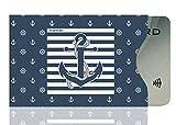 OPTEXX® 1x RFID Schutzhülle TÜV geprüft & zertifiziert Seemann Anker / Sailor anchor für Kreditkarte | EC-Karte | Personal-Ausweis Hülle sicheres Blocking von Funk Chips