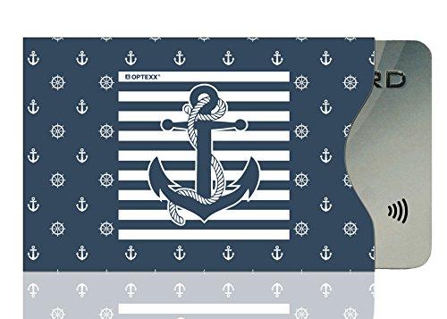 OPTEXX® 1x RFID Schutzhülle TÜV geprüft & zertifiziert Seemann Anker/Sailor anchor für Kreditkarte | EC-Karte | Personal-Ausweis Hülle sicheres Blocking von Funk Chips