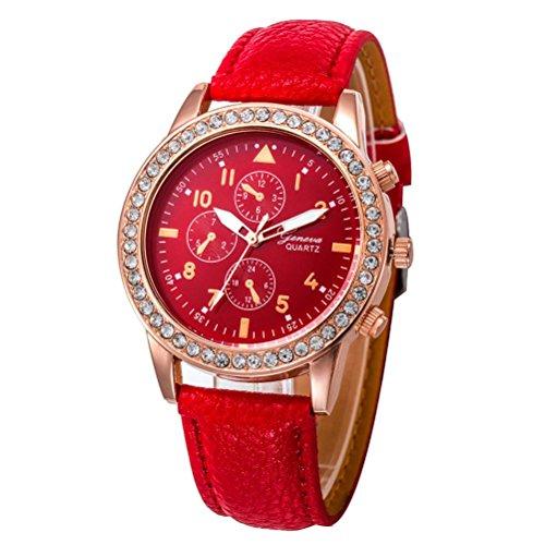 Relojes Pulsera Mujer, Xinan Relojes de Cuarzo de Cuero de Moda Banda Analógica (Rojo)