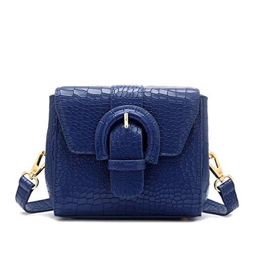 Damen-Leder-Umhängetasche Mit Metallkette Schultergurt Schultertasche Handtasche,Pink Blue