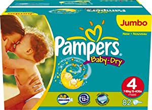 Pampers Baby-Dry Size 4 (15-44 lbs/7-18 kg) Nappies - 2 x Jumbo Packs of 82 (164 Nappies)