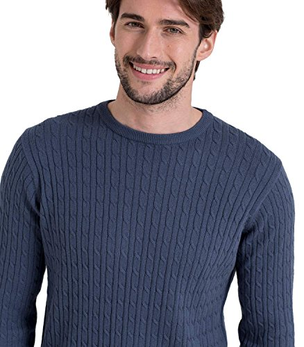 Wool Overs Pull torsadé à col rond homme en cachemire et coton French Navy